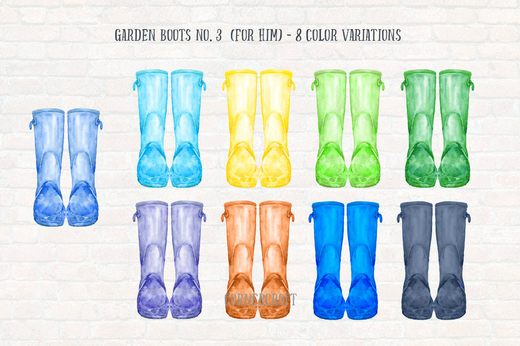 watercolor rain boots for kids, rain boots for men, blue, green and orange wellies, watercolour wellies