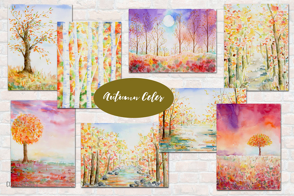 They are autumn themed paintings of woodland, wood, birchwood, trees and landscape on textured watercolor paper.