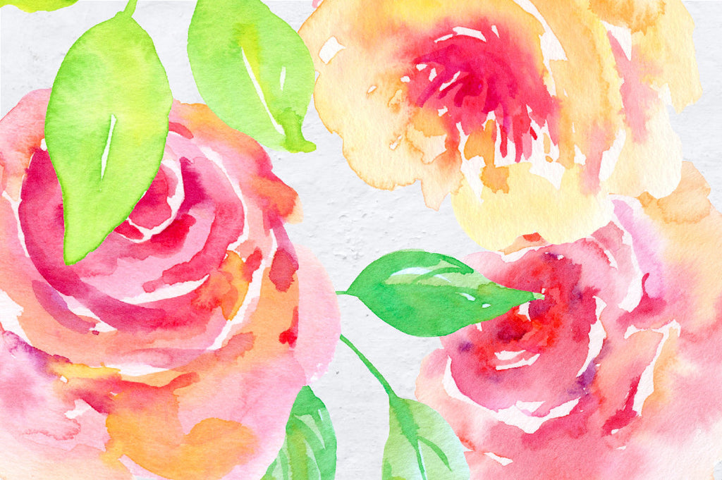 watercolor collection blush, pink and red flowers, decorative elements, flower posies and wreaths for instant download