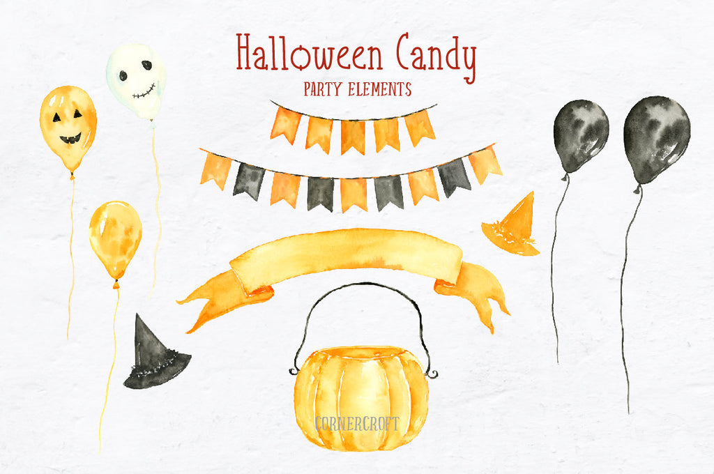 watercolor Halloween Candies, halloween sweets, lollipops, cupcake, balloon, banner and buntings, party items