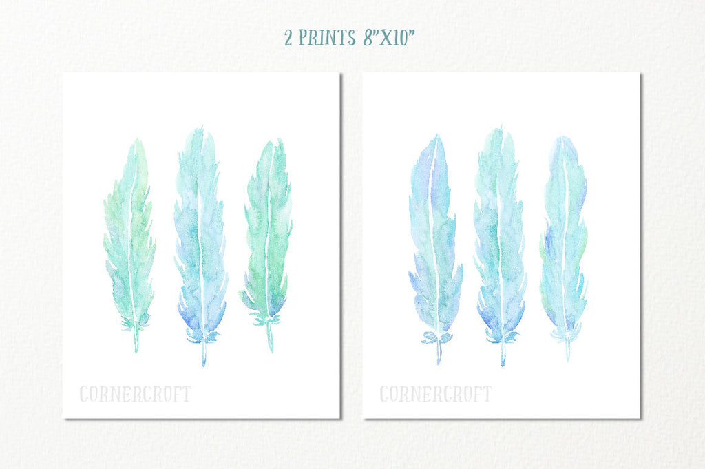 Hand painted watercolor aqua feathers, aqua themed feathers, blue, green and turquoise feathers for instant download