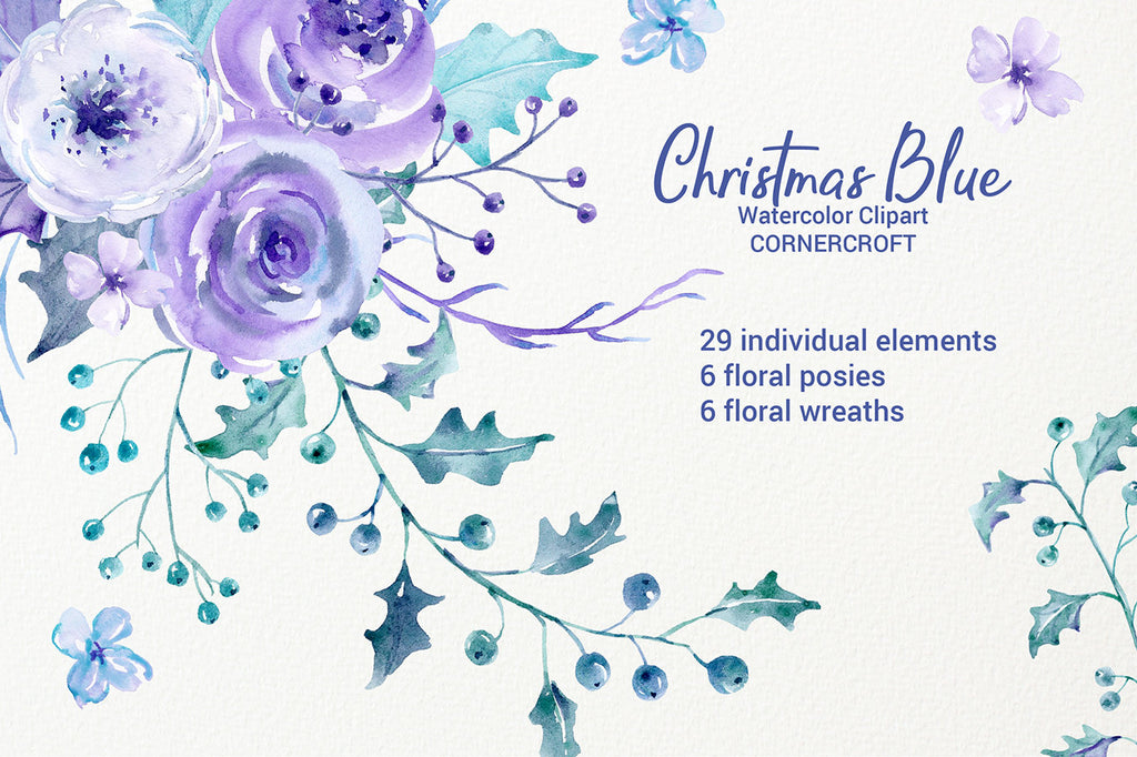 watercolor collection, Christmas blue, holly, rose, floral arrangement, clipart, Christmas clipart, holiday