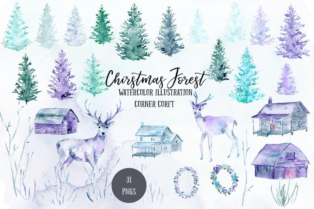 Watercolor clipart Christmas Forest, deer, fawn, cabin, pine trees, house, wood, texture in blue purple theme