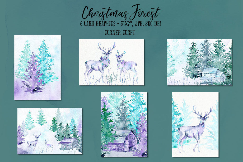 Christmas card template, template, card, greeting cards, forest, deer, blue, green, purple