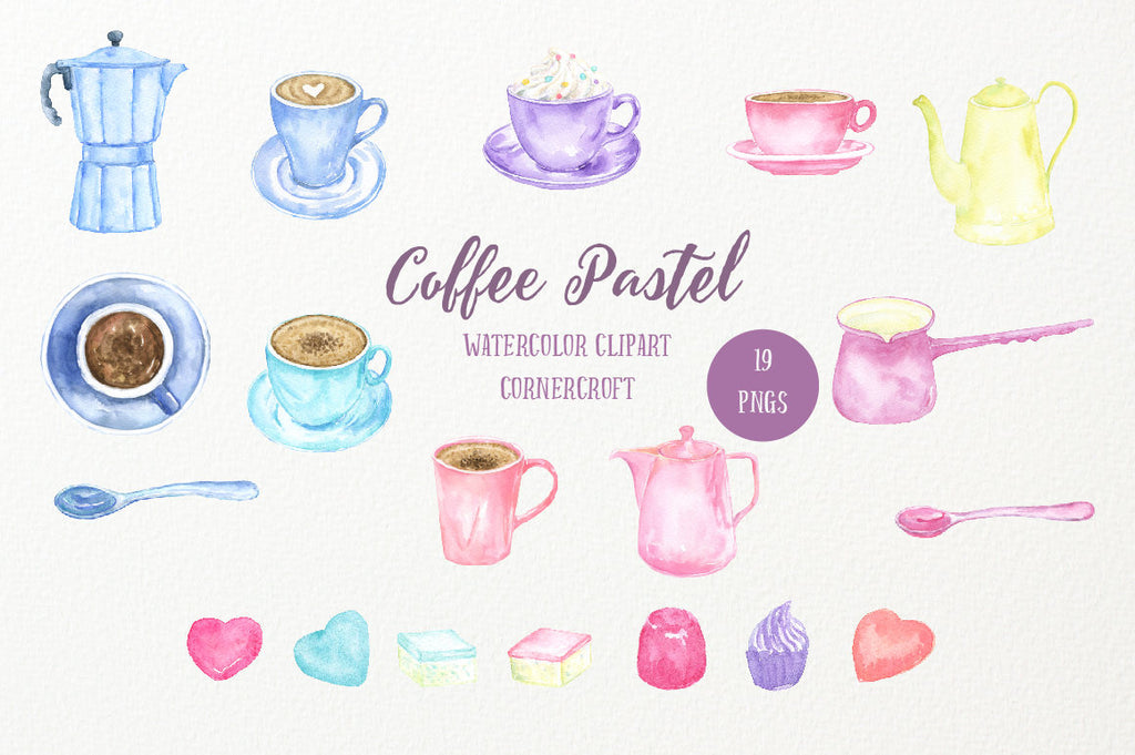 Coffee Pastel,waterolor clipart, cup of coffee, coffee pot, pink coffee, blue coffee, ice coffee, coffee printable, branding