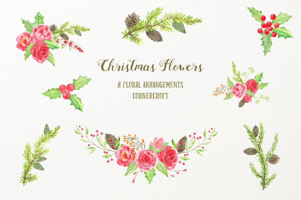 floral arrangement, Christmas flower arrangement, Watercolor Clipart Christmas Flowers - red flowers, snowman, pine cones, robin, chickadee