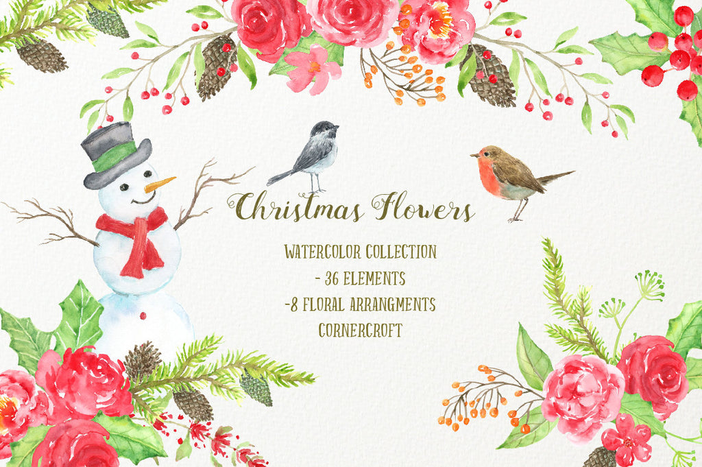 Watercolor Clipart Christmas Flowers - red flowers, snowman, pine cones, robin, chickadee