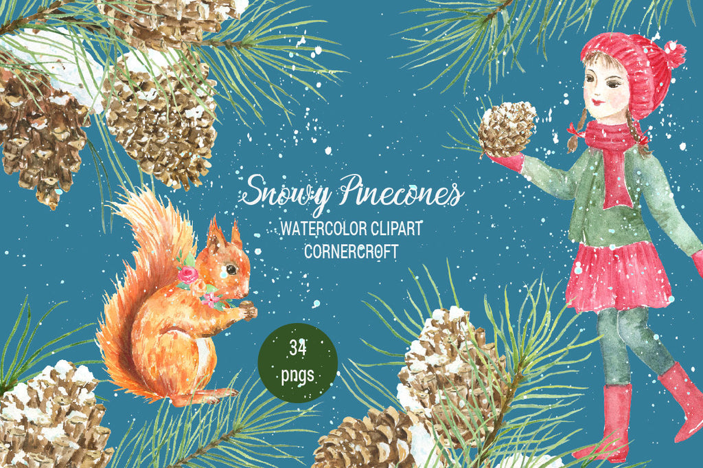 watercolor illustration pine branches, pine cones in snow, red squirrel and little girl in Christmas outfit,