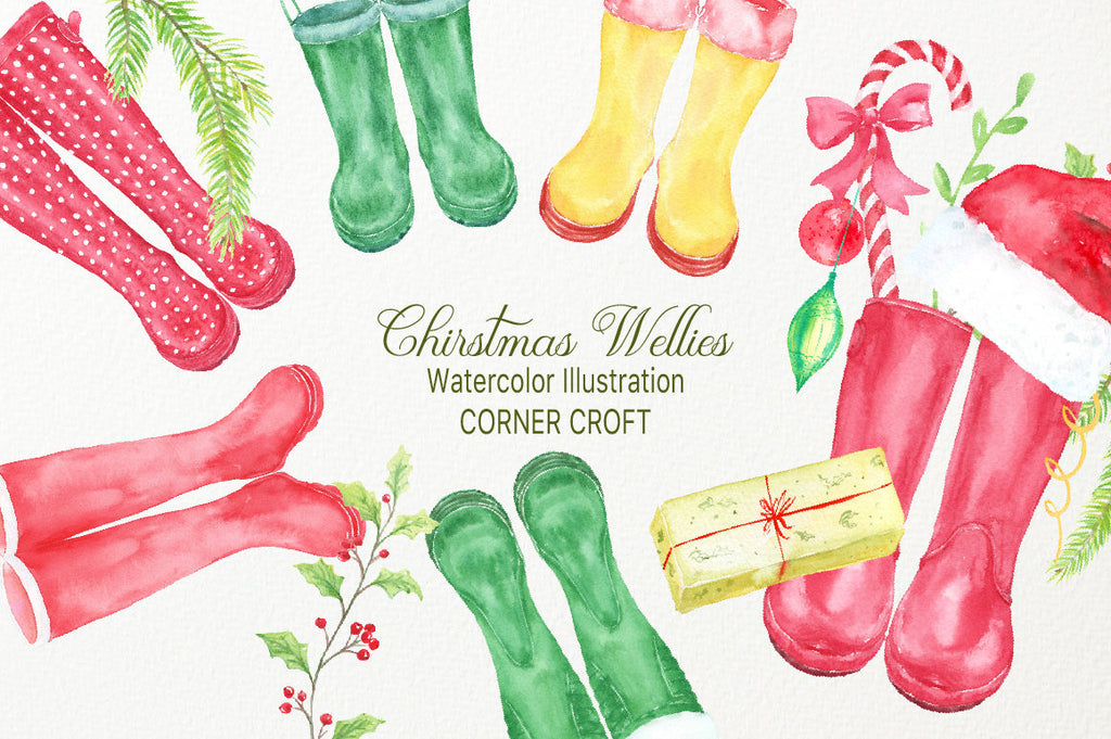 Watercolor clipart of Christmas rain boots, green boots, red boots, Christmas decorations