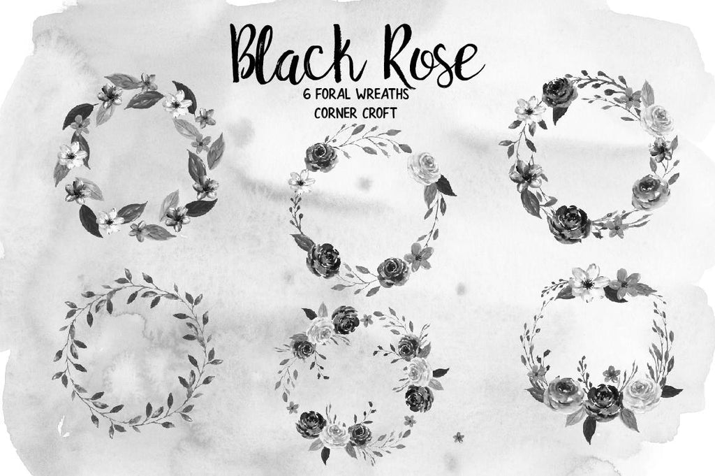 Watercolor Black Rose Floral Arrangements, black rose posy, black rose wreath for instant download