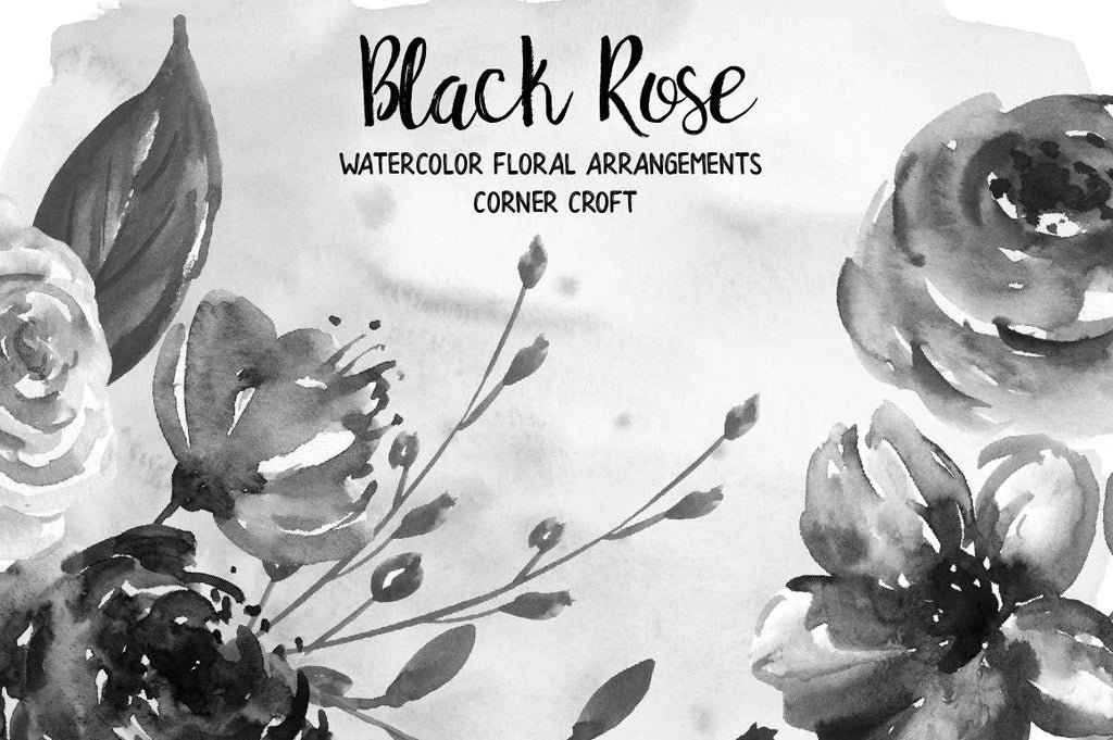 watercolor black rose wreath and floral arrangement, watercolor clipart