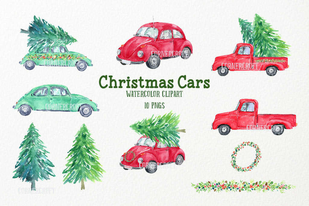 Watercolor Christmas cars, red car, green car, red truck, pine tress for instant download