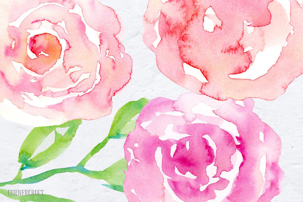hand painted watercolor pink, peach and purple roses and decorative elements.