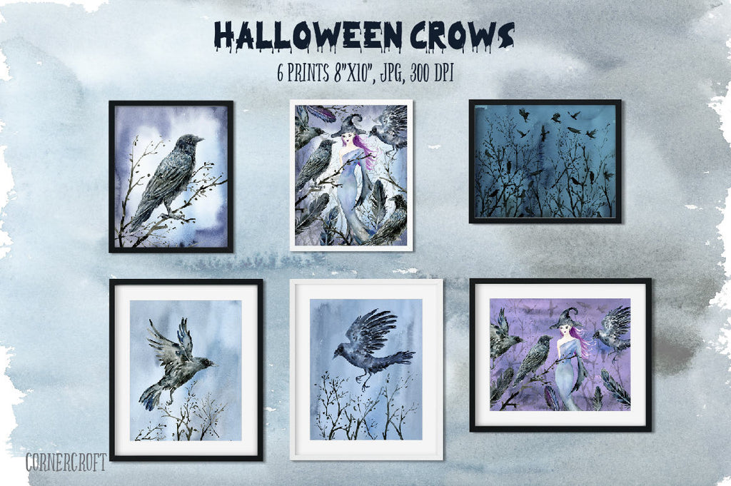 Watercolor Halloween crows and witch clipart, bird print, halloween print, instant download