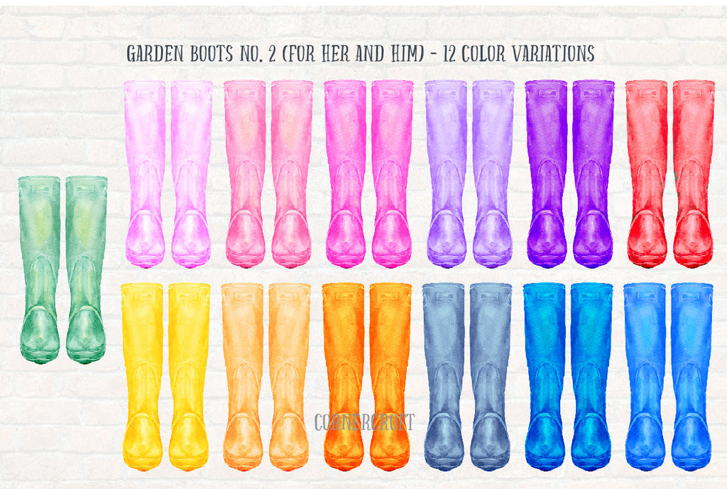 watercolour wellies, color variations, wellies clip art, digital download
