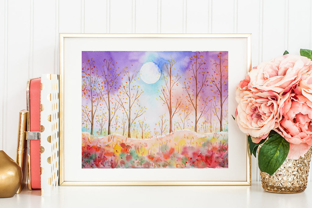 watercolor painting of moonlight, fall color, landscape painting.