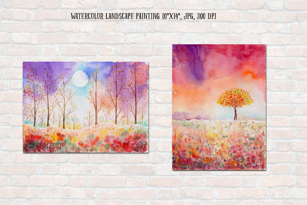 watercolor autumn color, instant download, watercolor landscape painting