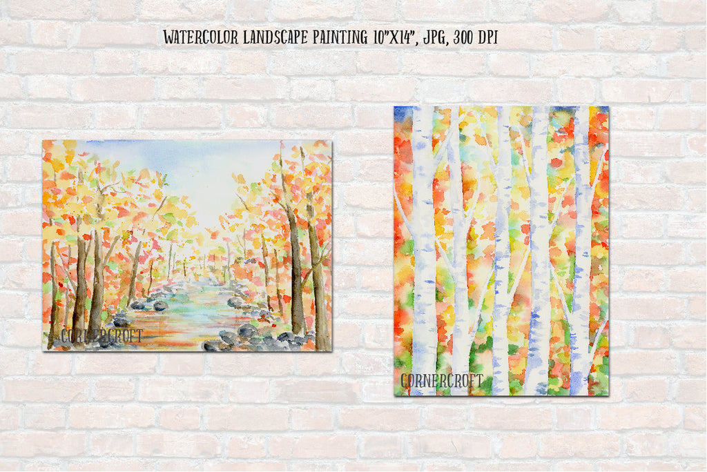 watercolor clipart, nature background, autumn color, birchwood.