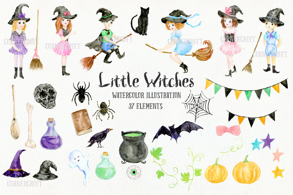 6 little girls and boys in Halloween costumes, together with halloween elements of black cat, bat, spiders, spiders web, eyeball, pumpkins, witch's brooms, witch's hats, buntings and bottles,