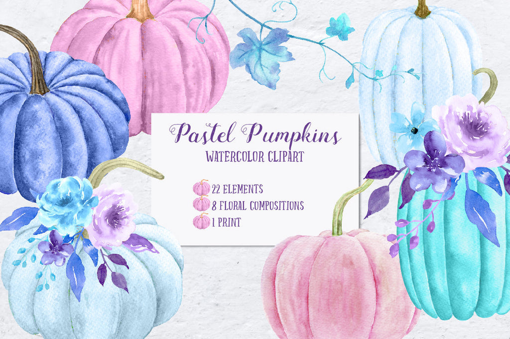 Watercolor pink, blue and purple pumpkins, pumpkin vines, pastel colored floral element, flower posies and compsitions for instant download