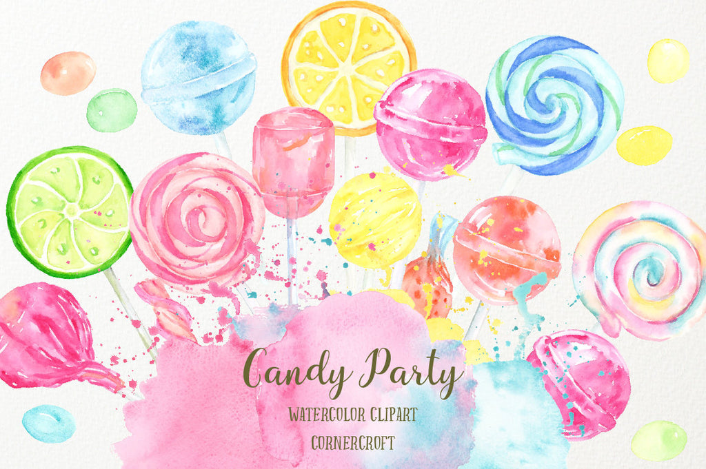 Hand painted watercolour clipart of sweets, candies, lollipops and sweet machine