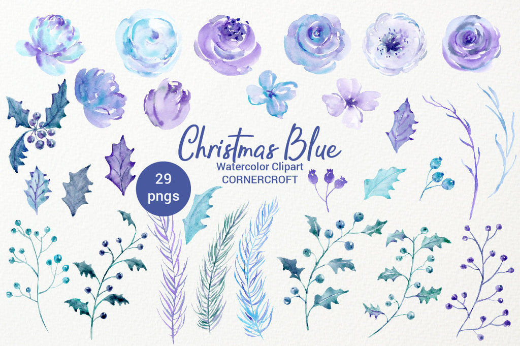 watercolor elements watercolor collection, Christmas blue, holly, rose, floral arrangement, clipart, Christmas clipart, holiday