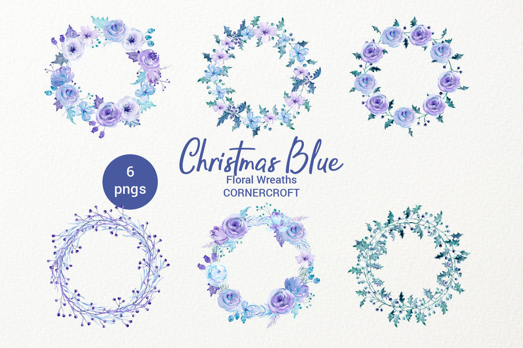 Christmas wreaths, watercolor collection, Christmas blue, holly, rose, floral arrangement, clipart, Christmas clipart, holiday