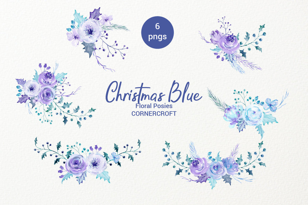 Christmas floral arrangements, watercolor collection, Christmas blue, holly, rose, floral arrangement, clipart, Christmas clipart, holiday