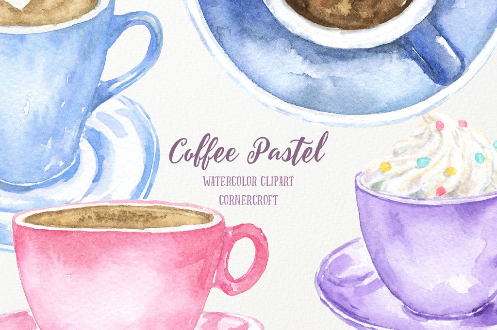 Watercolor Clipart Coffee Pastel, coffee ilustration, drink, cappuccino, coffee mug, coffee pot, latte
