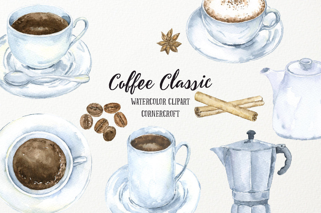 hand painted watercolor clipart classic coffee, cup of coffee, cinnamon stick, cappuccino