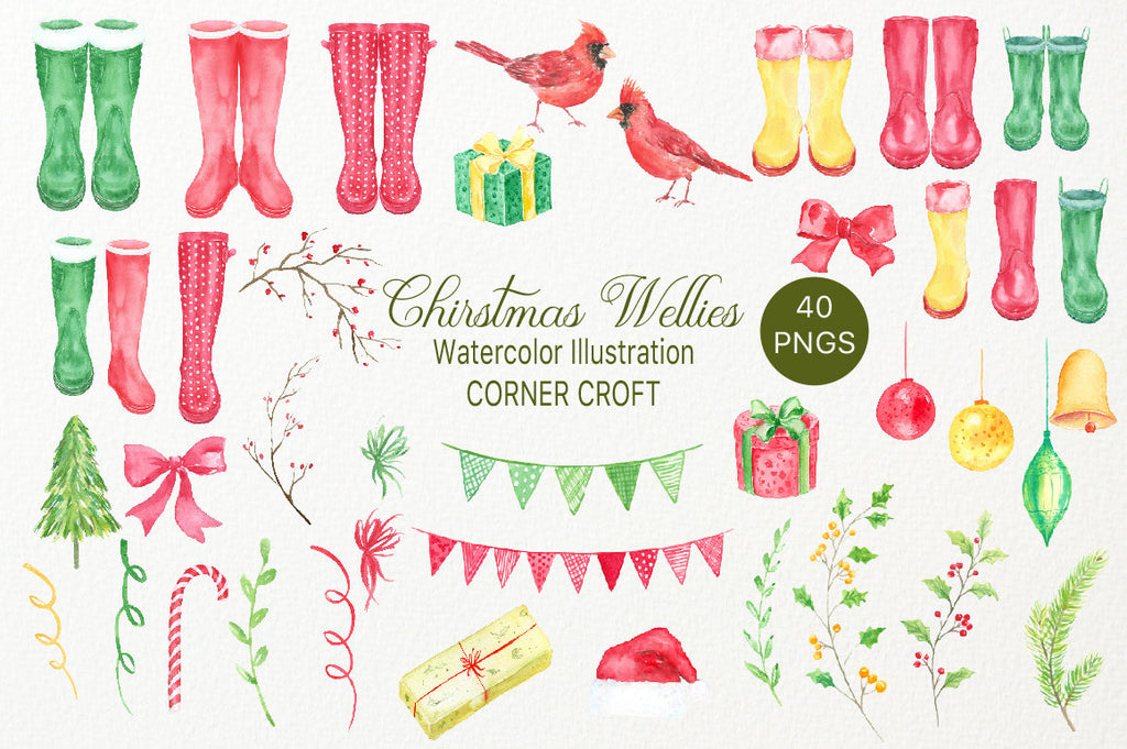 watercolor rain boots elements, rubber boots clipart Watercolor clipart of Christmas rain boots, green boots, red boots, Christmas decorations