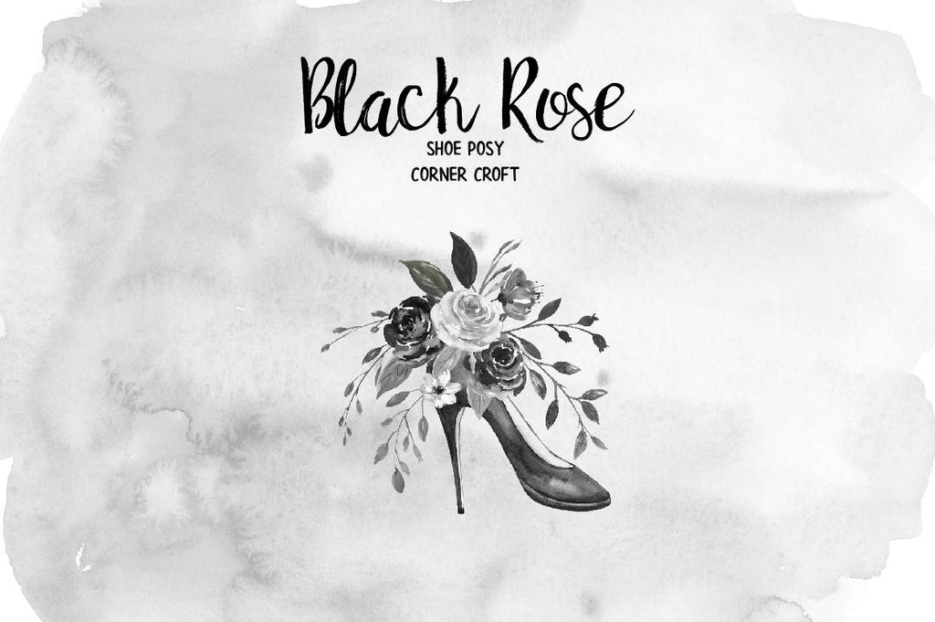 black rose posy, shoe posy, hand painted black roses, black rose, rose clipart, leaves, black shoe, wedding invitation