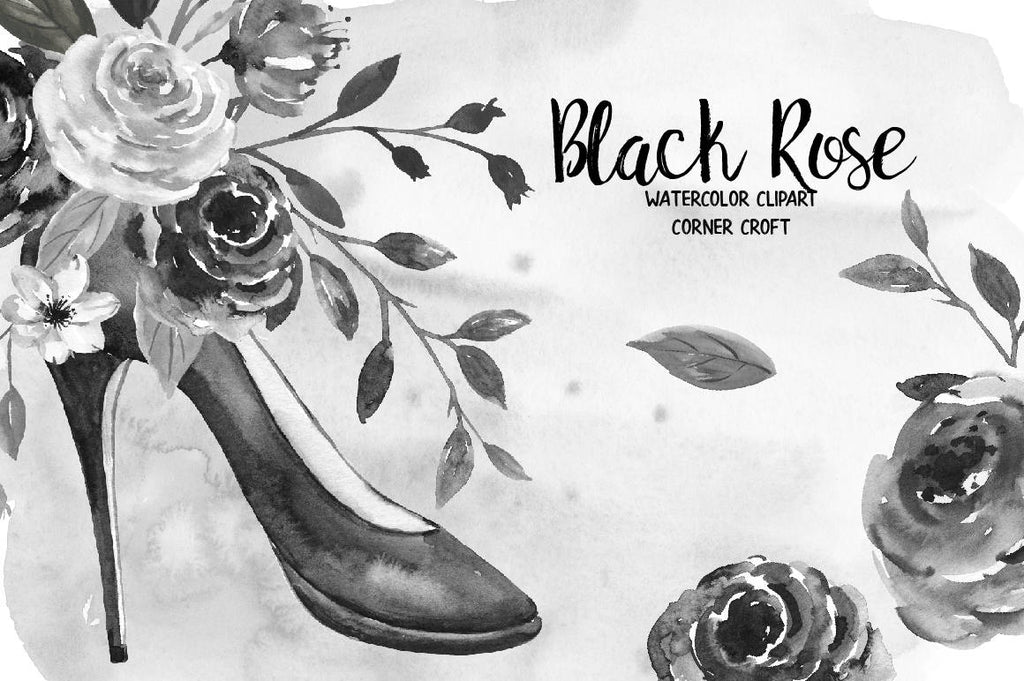 black rose clipart, clipart, watercolor black roses, shoe, black shoe, rose illustration