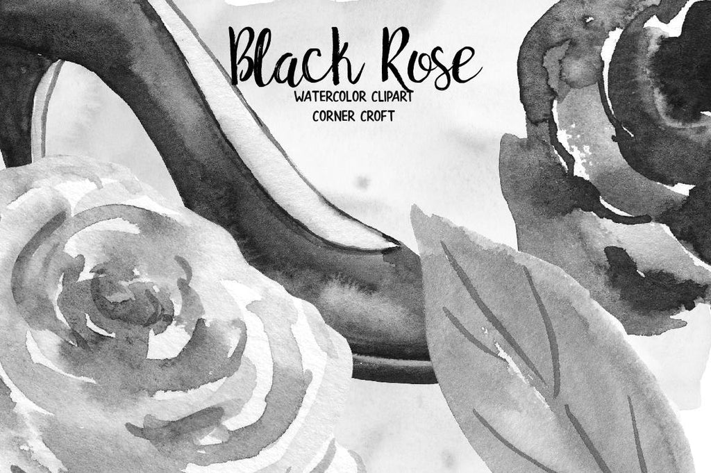 hand painted black roses, black rose, rose clipart, leaves, black shoe, wedding invitation