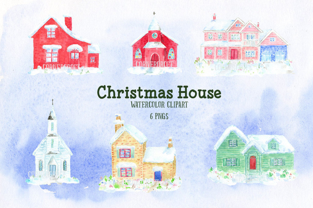 Watercolor houses, watercolor churches, American style houses, property, green, red, Christmas