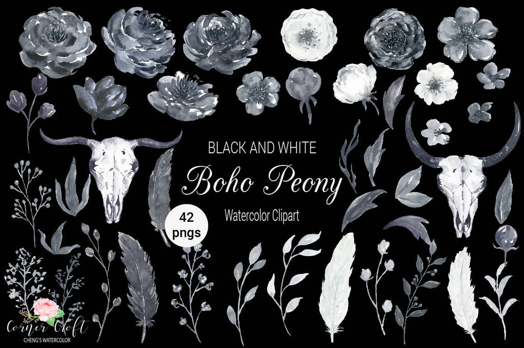 watercolor clipart, black and white peonies, boho, skull, bull skull, wedding clipart