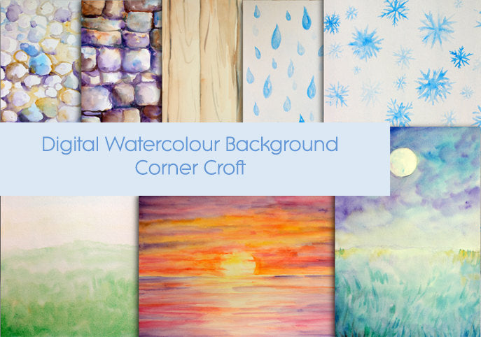 watercolor nature background, rain, sunset, moon light, pebbles, stand walls, instant download