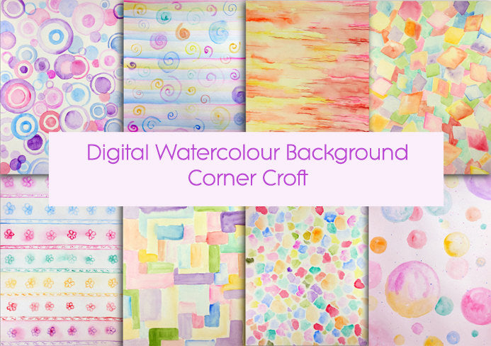 hand painted watercolor pastel pattern, instant download