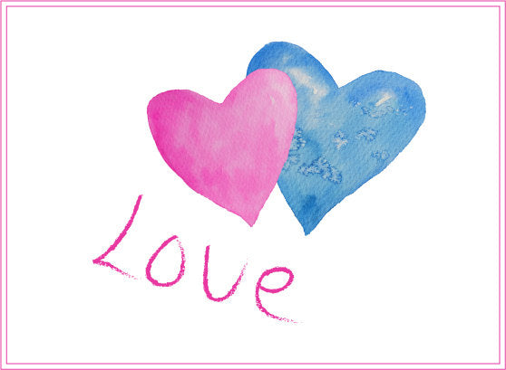 watercolour valentine clipart, valentine illustration, heart illustration