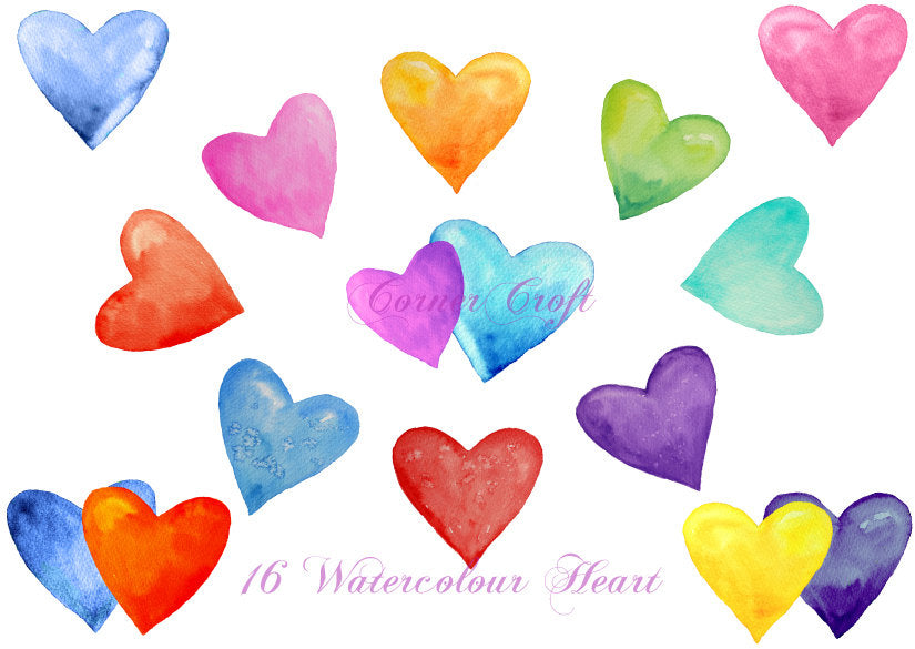watercolor heart clipart, pink, blue, green, purple heart illustration, instant download