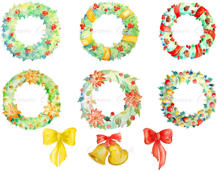 watercolor clipart, Watercolour clipart, Christmas wreath, hand painted wreaths, green wreaths
