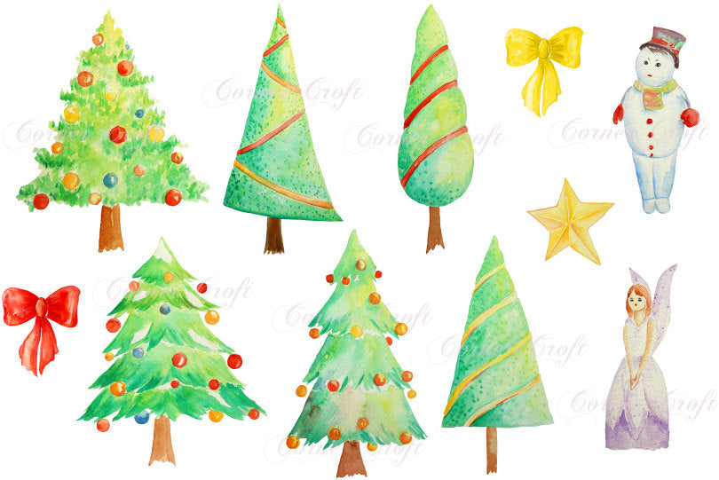 Watercolor Clipart Christmas Trees Snowman Fairy Instant