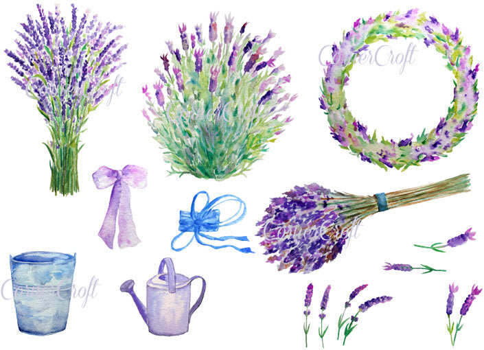 Watercolor lavender illustration, instant download, plant pot, sprig of lavender