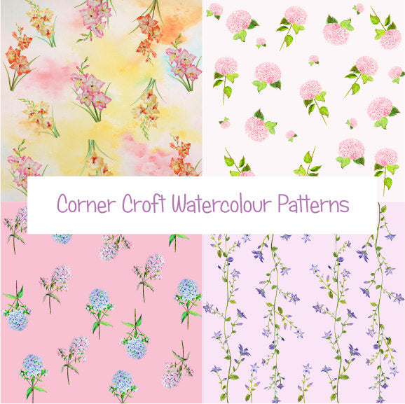 watercolor pink floral patterns instant download