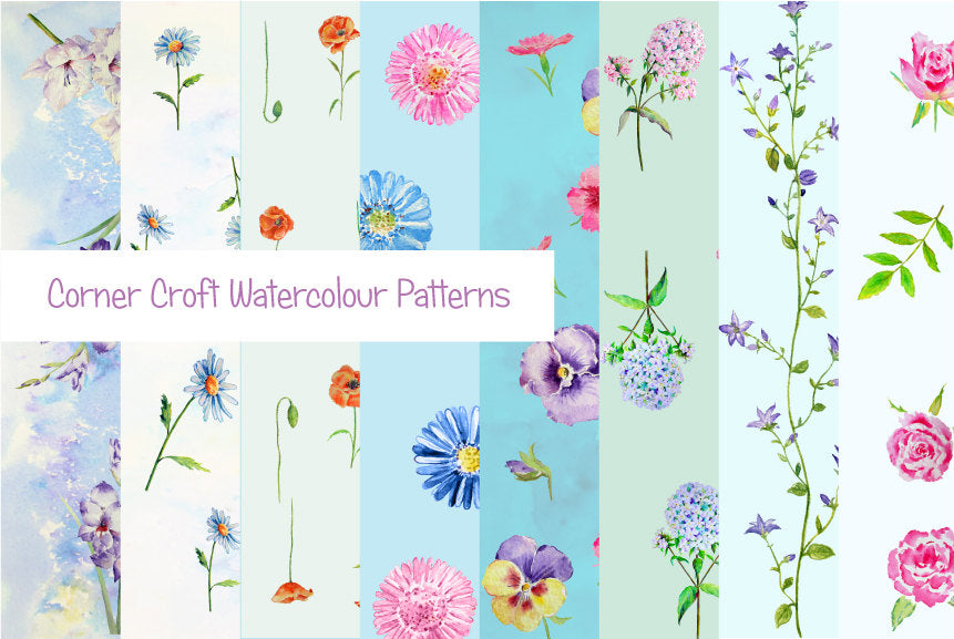 watercolor blue floral pattern instant download