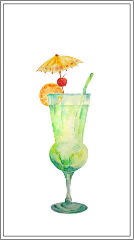 watercolor illustration of cocktail, corner croft watercolor illustration