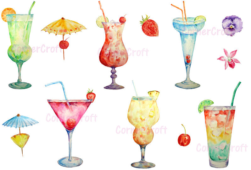 watercolor clipart cocktails, cocktail illustration, watercolor graphics, summer party