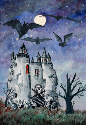 haunted castle, watercolour clipart, house illustration