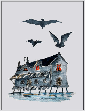 old house on water, bats, cats, halloween elements, instant download, digital files.