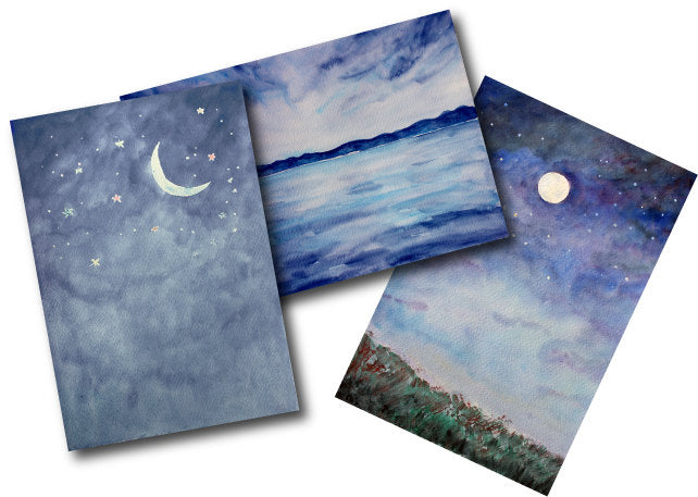 watercolor background, night view, halloween clipart